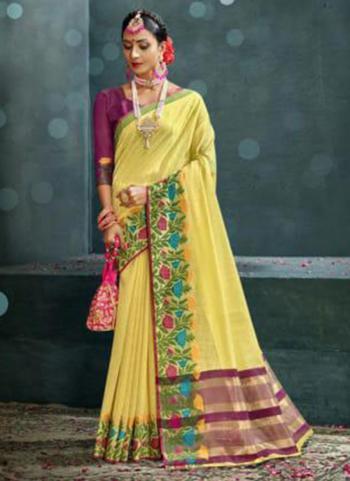 Traditional Wear Yellow Weaving Cotton Silk Saree