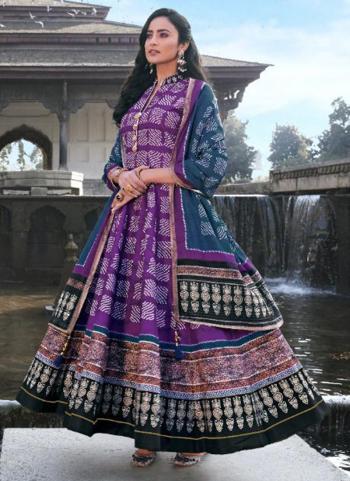 Wedding Wear Purple Digital Printed Killer Silk Gown With Dupatta