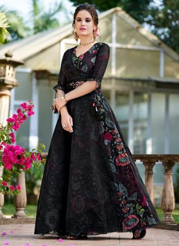 Party Wear Black Embroidery Work Organza Gown