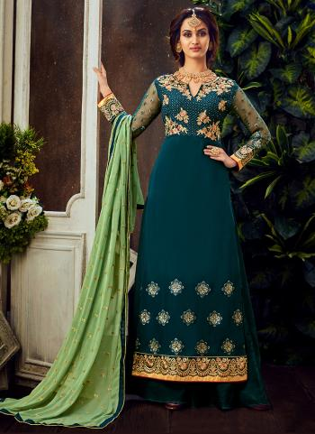 Traditional Wear Blue Embroidery Work Pure Georgette Palazzo Suit