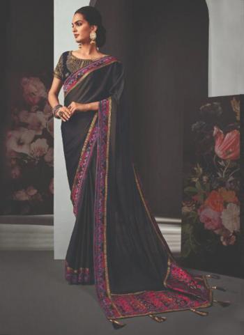 Reception Wear Black Border Work Fancy Saree
