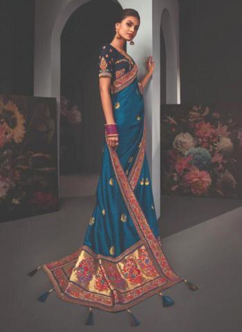 Reception Wear Blue Border Work Fancy Saree