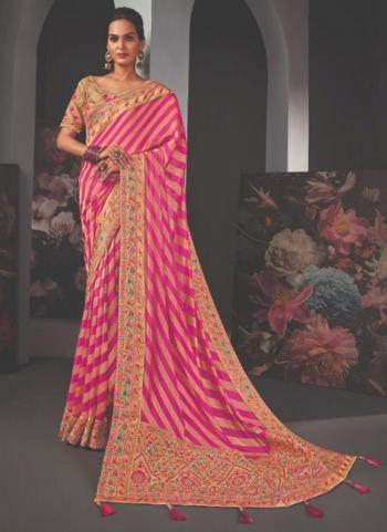 Reception Wear Pink Border Work Fancy Saree