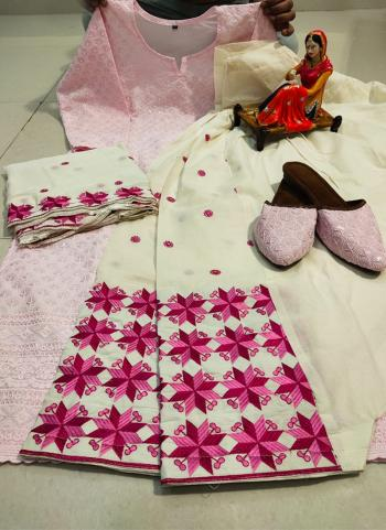 Traditional Wear Light Pink Chikan Work Pure Cotton Readymade Salwar Suit