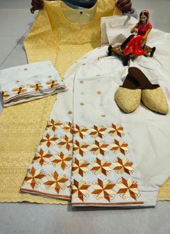 Festival Wear Beige Chikan Work Pure Cotton Readymade Salwar Suit