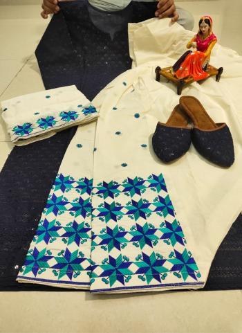 Festival Wear Blue Chikan Work Pure Cotton Readymade Salwar Suit