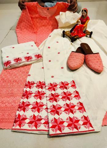 Festival Wear Peach Chikan Work Pure Cotton Readymade Salwar Suit