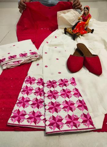 Festival Wear Rani Chikan Work Pure Cotton Readymade Salwar Suit