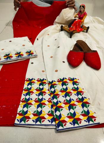 Festival Wear Red Chikan Work Pure Cotton Readymade Salwar Suit