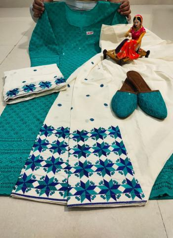 Festival Wear Sky Blue Chikan Work Pure Cotton Readymade Salwar Suit