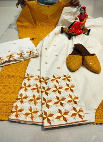 Festival Wear Yellow Chikan Work Pure Cotton Readymade Salwar Suit