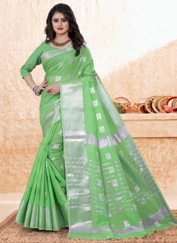 Casual Wear Pista Green Zari Work Cotton Saree
