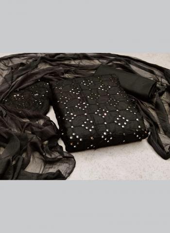 Casual Wear Black Sequins Work Slub Cotton Dress Material