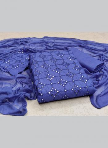 Casual Wear Blue Sequins Work Slub Cotton Dress Material