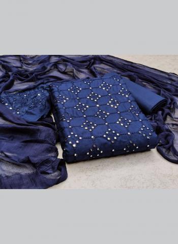 Casual Wear Navy Blue Sequins Work Slub Cotton Dress Material