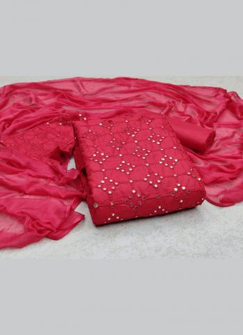 Casual Wear Pink Sequins Work Slub Cotton Dress Material