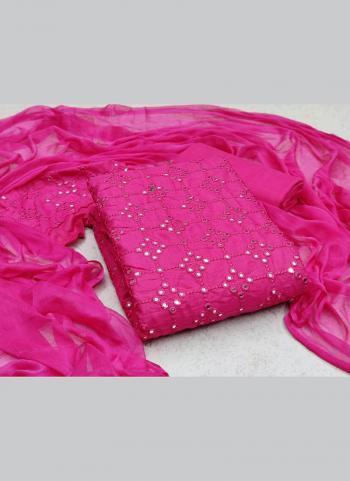 Casual Wear Rani Sequins Work Slub Cotton Dress Material
