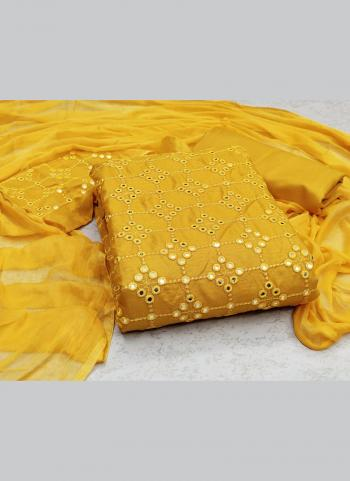 Casual Wear Yellow Sequins Work Slub Cotton Dress Material