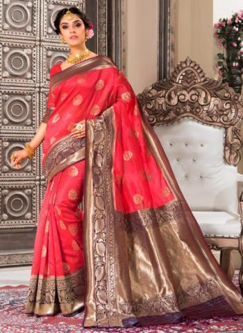 Wedding Wear Pink Weaving Banarasi Silk Saree