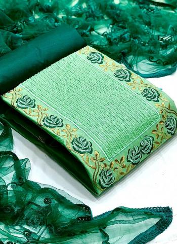 Festival Wear Pista Green Embroidery Work Glace Cotton Dress Material
