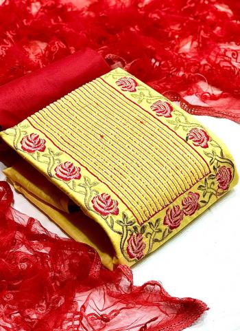 Festival Wear Yellow Embroidery Work Glace Cotton Dress Material