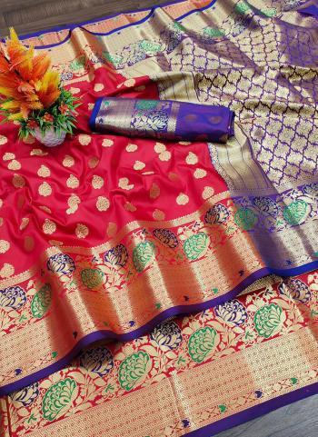 Party Wear Dark Pink Weaving Lichi Silk Saree
