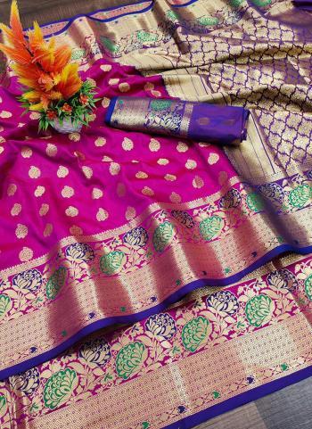Party Wear Violet Weaving Lichi Silk Saree