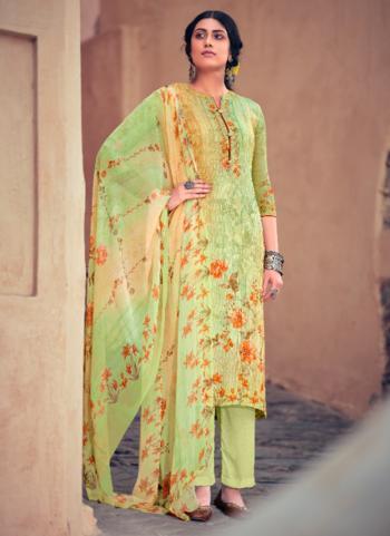 Festival Wear Light Green Digital Printed Muslin Palazzo Suit