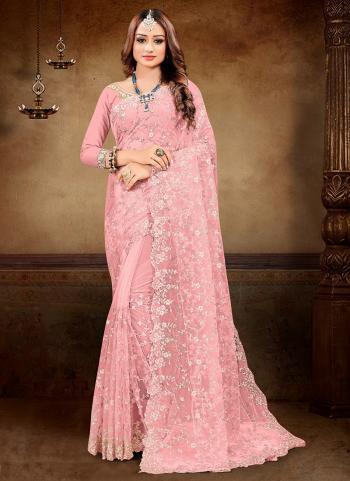 Reception Wear Light Pink Embroidery Work Net Saree