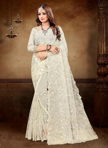 Reception Wear Off White Embroidery Work Net Saree