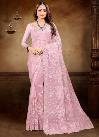 Reception Wear Pink Zarkan Work Net Saree