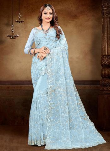 Reception Wear Sky Blue Embroidery Work Net Saree