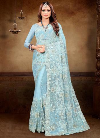 Reception Wear Turquoise Blue Zarkan Work Net Saree