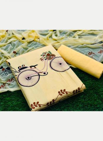 Regular Wear Beige Printed Work PC Cotton Dress Material