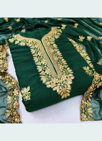 Festival Wear Green Embroidery Work Georgette Dress Material