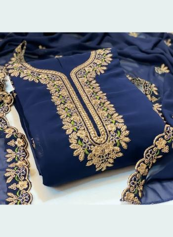 Festival Wear Navy Blue Embroidery Work Georgette Dress Material