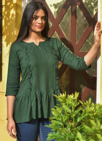 Casual Wear Green Embroidery Work Rayon Top
