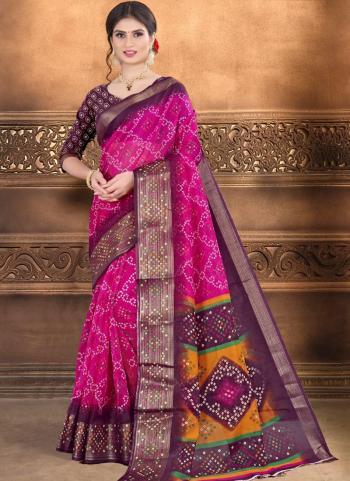 Casual Wear Rani Printed Work Cotton Linen Saree