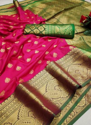 Festival Wear Dark Pink Weaving Lichi Silk Saree