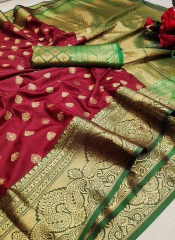 Festival Wear Maroon Weaving Lichi Silk Saree