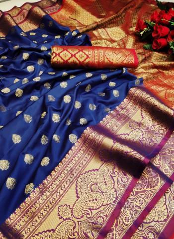 Festival Wear Navy Blue Weaving Lichi Silk Saree