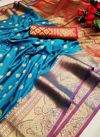 Festival Wear Sky Blue Weaving Lichi Silk Saree