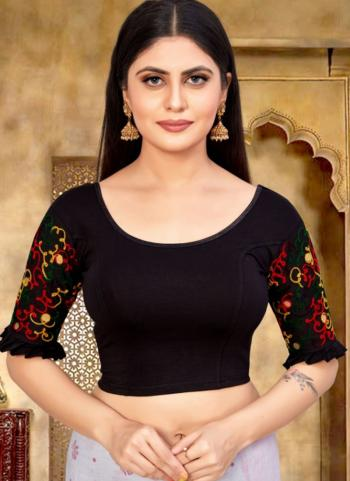 Casual Wear Black Embroidery Work Cotton Lycra Readymade Blouse