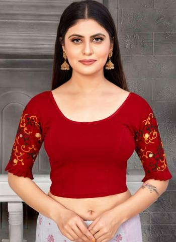 Casual Wear Maroon Embroidery Work Cotton Lycra Readymade Blouse