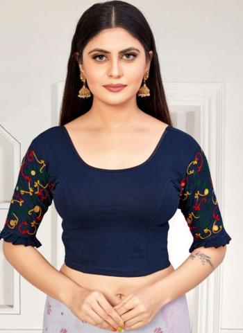 Casual Wear Navy Blue Embroidery Work Cotton Lycra Readymade Blouse