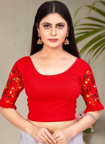 Casual Wear Red Embroidery Work Cotton Lycra Readymade Blouse