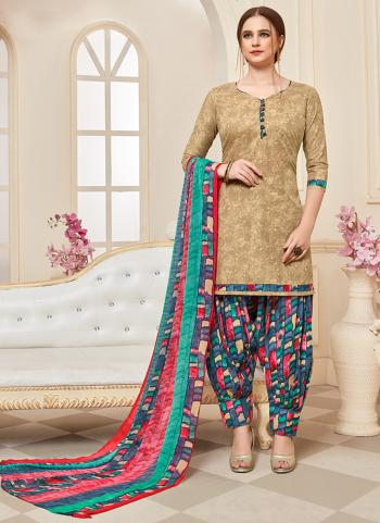 Daily Wear Beige Printed Work Cotton Patiyala Suit