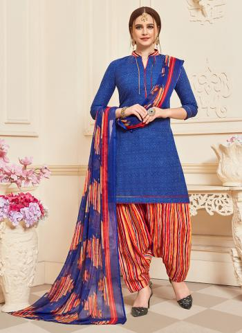 Daily Wear Blue Printed Work Cotton Patiyala Suit