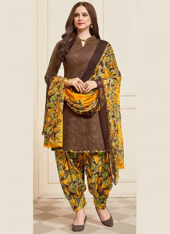 Daily Wear Brown Printed Work Cotton Patiyala Suit