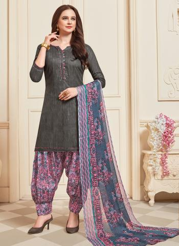 Daily Wear Dark Grey Printed Work Cotton Patiyala Suit